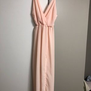 Gorgeous blush maxi with slip skirt